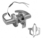 """BEST 9KW36DEU15DS3626RQEKD24V - Electromechanical Unlocked-Fail Secure-6 pin non-i/c cylinder, Schlage """"C"""" keyed different-contour angle lever-satin chromium"""