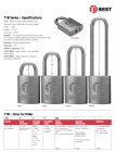 "BEST-11B722L Padlock, Less Core, steel shackle 1/4"" x 1-1/2"""