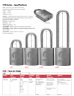 "BEST-21B772LM5 Padlock, Less Core, steel shackle 5/16"" x 2"" w/galvanized steel chain"