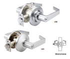 """DORMA C880DLCE625 - Grade 1 storeroom function conventional cylinder; curved lever; 3-1/2"""" diamater stepped rose; bright chrome finish"""