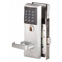 BEST 45HZ7DV15KP626LH - Keypad EZ mortise lock-7 pin housing-LESS CORE, single keyed latch, contour angle return lever, key pad-satin chromium