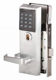 BEST 45HZ7TV15KP626LH - Keypad EZ mortise lock-7 pin housing-LESS CORE, deadbolt w/key override, contour angle return lever, key pad-satin chromium