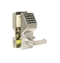 "ALARM LOCK DL410026D - Door Lock, Digital, Standard Key Override, Non-Handed, 200 User Code, 1-5/8 to 1-7/8"" Door Thickness, Satin Chrome Plated, With Straight Lever Trim, Cylinder, For Privacy"
