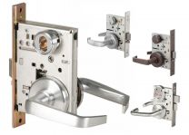 "BEST 45H7UNAB14S606 - Mortise Lock 45H series standard-7 pin housing, universal deadbolt, curved lever, 3 1/2"" dia trim, less core- satin brass"