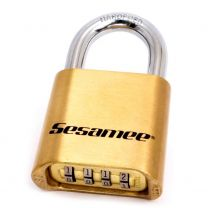 """CCL - 4-Dial Resettable Brass Padlock - 1"""" hardened steel shackle"""