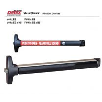"""Detex V40 ValueSeries 48"""" Alarmed Rim Panic Device - Exit Only - 9V battery, cylinder dogging, red pushpad - aluminum"""