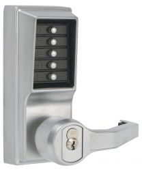 "KABA LR1021S-26D-41 - Simplex LR1021S26D Right Hand Mechanical Pushbutton Lever Lock with Key Override, 2-3/4"" Backset, Schlage Satin Chrome Finish"