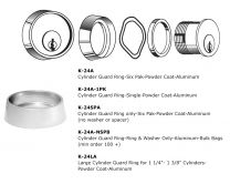 KEEDEX K-24A-1PK - Cyl Guard Ring - Powder Coat Alum (1 ea. Ring, Washer, Spacer)