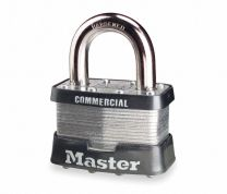 "Master Lock 5 KA A1024 Tumbler Padlock, Keyed Alike, 4-Pin W1 Cylinder, 2"" Width, 1"" Shackle Clearance, Laminated Steel, With (2) A1024 Key"