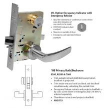 Sargent 8266 x 49 LNB 626 Mortise lock - Privacy w/indicator - satin chrome